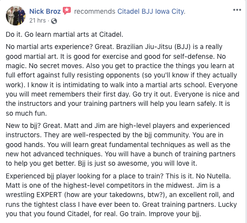 Nick Broz Review Citadel BJJ Iowa City