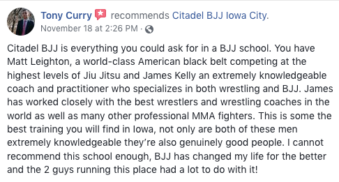 Tony Curry Review Citadel BJJ Iowa City