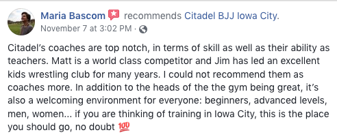 Maria Bascom Review Citadel BJJ Iowa City