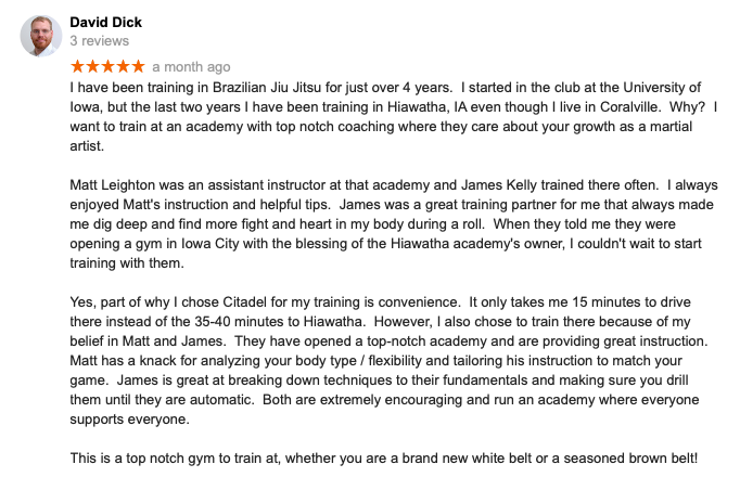 David Dick Review Citadel BJJ Iowa City