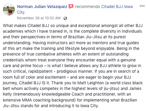 Norman Velazquez Review Citadel BJJ Iowa City