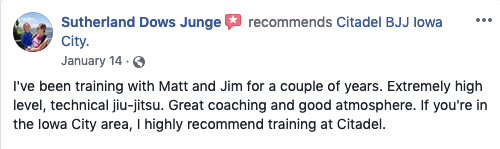 Seth Junge Review Citadel BJJ Iowa City