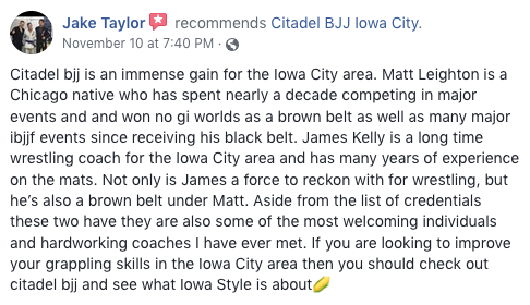 Jake Taylor Review Citadel BJJ Iowa City