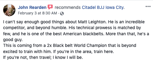 John Rearden Review Citadel BJJ Iowa City
