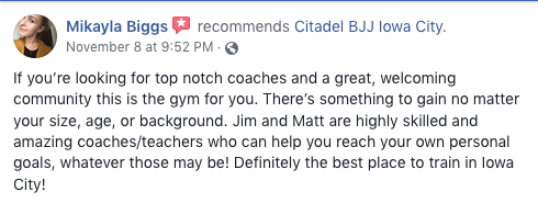 Mikayla Biggs Review Citadel BJJ Iowa City